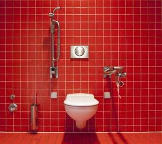A bathroom with a red tiled floorDescription automatically generated