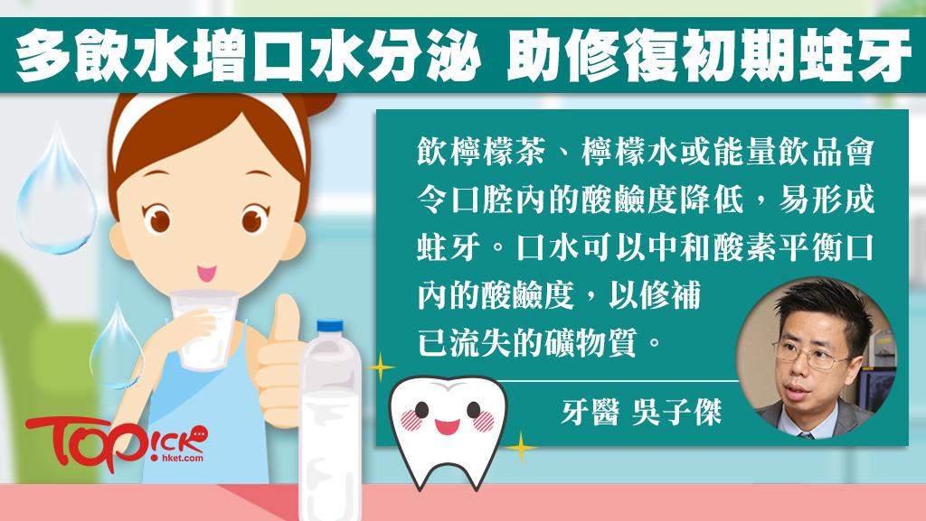 註冊牙科醫生吳子傑指,只要減少食甜食及酸性食物、以及減少吃喝的次數,有助修復初期蛀牙。